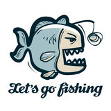 Anglerfish vector logo. fishing, angling or fish icon Royalty Free Stock Photography