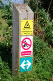 Anglers Beware. No fishing and overhead power lines warning signs Stock Photos