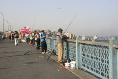 Anglers at the Galata Bridge - Istanbul Royalty Free Stock Photo