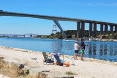 Anglers near Caronte canal in the south of France Stock Photography