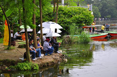 Anglers. Park, a small river to anglers who filled Royalty Free Stock Photo