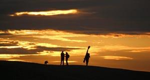 Anglers on Chesil Bank stock photo