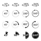 Angles 45, 90, 180 and 360 degrees vector icons set. Set of angles 45, 90, 180 and 360 degrees icons. Rotation degree 90 Vector illustration Royalty Free Stock Photos