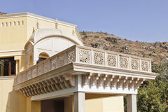 Angles of Rajashtan Architeture Verranda. Horizontal shapes of Rajasthan architecture, domed archway, terrace and balcony with hill backdrop Stock Images
