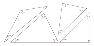 Angles Sum of a Triangle. Four different triangles that proper angles labeled with x to be solved Royalty Free Stock Photography