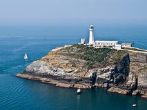 Anglesea wales coastal path sea view lighthouse. Anglesea wales coastal path sea view sout stack lighthouse Stock Photo