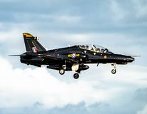 Anglesey , Wales - April 26 2018 : British Aerospace Hawk T.2 landing at Anglesey RAF valley airport.  stock image