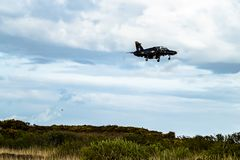 Anglesey , Wales - April 26 2018 : British Aerospace Hawk T.2 landing at Anglesey RAF valley airport.  stock photo