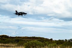 Anglesey , Wales - April 26 2018 : British Aerospace Hawk T.2 landing at Anglesey RAF valley airport.  royalty free stock photos