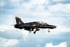 Anglesey , Wales - April 26 2018 : British Aerospace Hawk T.2 landing at Anglesey RAF valley airport.  stock images