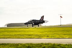 Anglesey , Wales - April 26 2018 : British Aerospace Hawk T.2 landing at Anglesey RAF valley airport stock images
