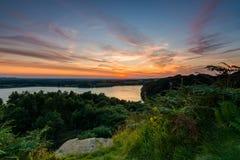 Anglezarke solnedgång Arkivfoton