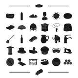 Anglia, dawność, alkohol i inna sieci ikona w czerni, projektujemy czystość, podróż, Ameryka ikony w ustalonej kolekci ilustracja wektor