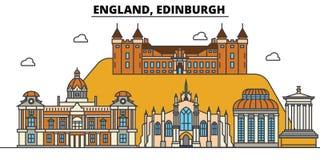 Anglia, Edynburg Miasto linii horyzontu architektura Editable royalty ilustracja