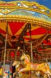 Anglia, Morecambe, 06/15/2014, colourful rocznika koński carousel przy Fairground Fotografia Royalty Free