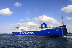 The Anglia Seaways leaving port. The Anglia Seaways Ro-Ro ship ship leaving Lubeck harbour, Germany royalty free stock photos