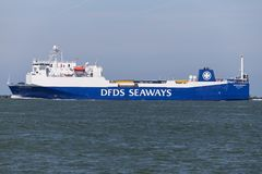 ANGLIA SEAWAYS outbound Rotterdam. DFDS Seaways is a large Danish shipping company operating passenger and freight services across Northern Europe stock images