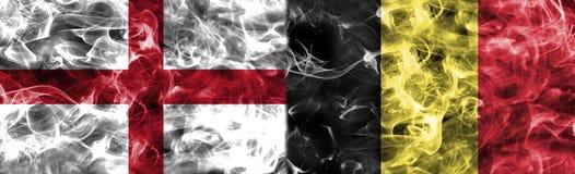 Anglia vs Belgia dymu flaga, grupowy G, futbolowy puchar świata 2018, Obrazy Royalty Free