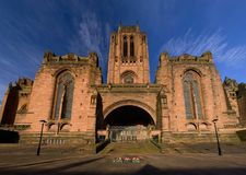 Anglicaanse Kathedraal in Liverpool, het UK stock afbeeldingen