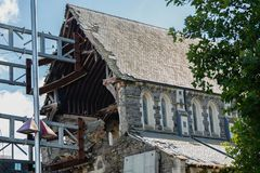 The Anglican Christchurch Cathedral damaged after earthquake, Christchurch, South Island of New Zealand stock images