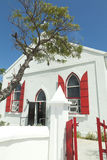 Anglican Church, Grand Turk Island, Caribbean. Red and white painted Anglican church on Grand Turk Island. Vertical shot Royalty Free Stock Image