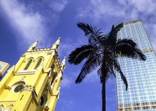 The anglican church and modern office buildings. On hongkong street china Stock Photography