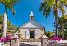 Anglican church in St Barts. St Bartholomew`s Anglican Church in Saint Barthélemy. Church at harbor of Gustavia, St Barts. Bright and colorful image royalty free stock photos
