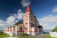 Anglikansk kyrka för Sanka Faiths, Ohinemutu Maori Village, Rotorua, Nya Zeeland royaltyfri bild