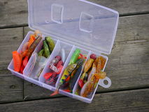 Angling baits. In plastic box Royalty Free Stock Images