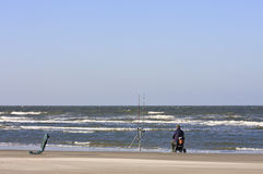 Angling in Dutch North Sea near Nes, Ameland Island Royalty Free Stock Photography
