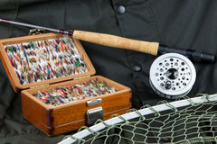 Angling Equipment and Outdoor Coat Stock Images