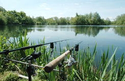 Angling. Or freshwater fishing at a Lake, Norfolk, UK Stock Image