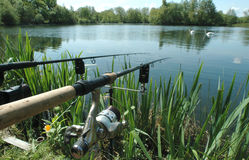 Angling. Or freshwater fishing at a Lake, Norfolk, UK Royalty Free Stock Image