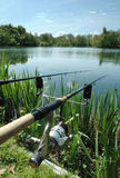 Angling. Or freshwater fishing at a Lake, Norfolk, UK Royalty Free Stock Photos