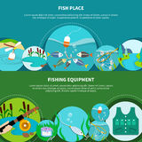 Angling Gear Banners Collection. Fishing equipment banners set with doodle style circle images of fish net ledger hook and text vector illustration Royalty Free Stock Photo
