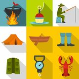 Angling icons set, flat style. Angling icons set. Flat illustration of 9 angling vector icons for web Stock Photo