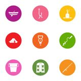 Angling icons set, flat style. Angling icons set. Flat set of 9 angling vector icons for web isolated on white background Royalty Free Stock Photo