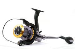 Angling reel. Isolated angling reel on white background Royalty Free Stock Photo