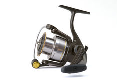Angling reel. Isolated angling reel on white background Royalty Free Stock Photos