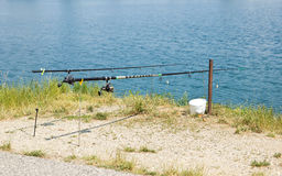 Angling Rods. On Lake Shore Stock Image