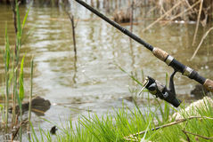 Angling stick. Angling rod by the lake Royalty Free Stock Images