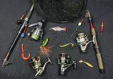 Angling tackle on ponds and rivers. Angling tackle on ponds and rivers for different types of fish Stock Photos