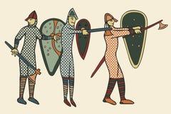 Anglonormańskich żołnierzy średniowieczny styl & x28; Computer& x29; grafika Obrazy Royalty Free
