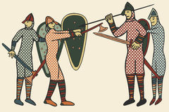 Anglonormańskich żołnierzy średniowieczny styl & x28; Computer& x29; grafika Zdjęcie Stock