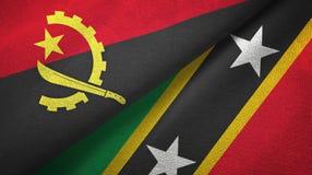 Angola, święty i dwa flagi tekstylny płótno, tkaniny tekstura ilustracja wektor
