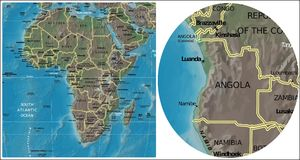 Angola and Africa map Stock Photos