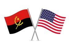 Angola and America Flags.Vector illustration. Royalty Free Stock Image