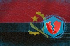 Angola cortou, atacado por hacker Conceito líquido da defesa ilustração do vetor