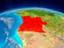 Angola on Earth. Orbit view of Angola highlighted in red on planet Earth with highly detailed surface textures. 3D illustration. Elements of this image furnished Royalty Free Stock Photography