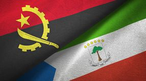 Angola and Equatorial Guinea two flags textile cloth, fabric texture. Angola and Equatorial Guinea two folded flags together stock illustration